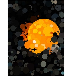 Abstract black dot pattern and orange circle vector