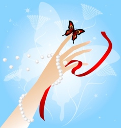 womans hand and butterfly vector image