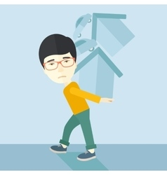 Chinese man carrying house and car vector