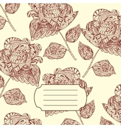 Notebook cover with hand-drawn flower pattern vector