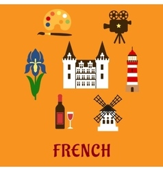 France cultural and historical symbols vector