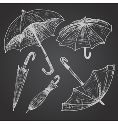 Drawing set of umbrellas vector