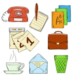 Hand draw office element vector