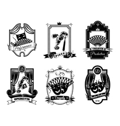 Theatre Black White Emblems Set vector image