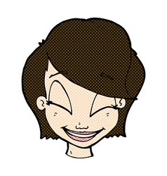 Comic cartoon pretty female face vector