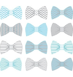 Cute blue and grey bow tie collection vector