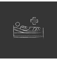 Patient lying on bed drawn in chalk icon vector