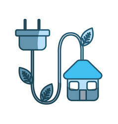Blue house with reduce power cable icon vector
