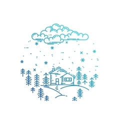 Blue winter landscape in round composition vector