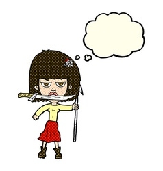 Cartoon woman with knife and harpoon with thought vector