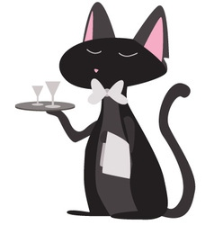 Cat waiter vector