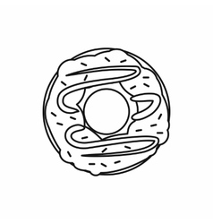 Chocolate donut icon outline style vector