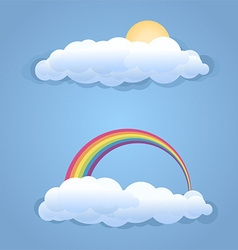 Clouds with sun and rainbow symbol isolated vector image vector image