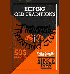 color vintage hunting club banner vector image