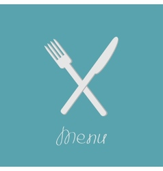 Cross silver fork and knife menu cover in flat vector