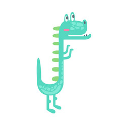 cute little dino prehistoric animal character vector image vector image