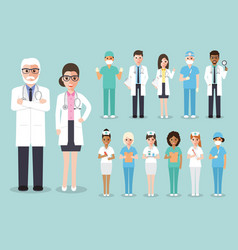 doctor medical and hospital staff team characters vector image vector image