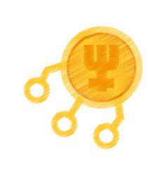 Drawing primecoin web icon vector