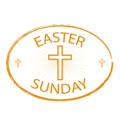 Easter sunday stamp with cross symbol vector