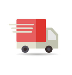 Fast shipping delivery truck flat icon vector