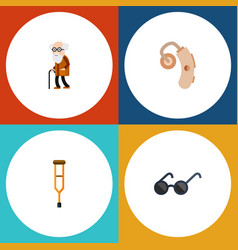 flat icon handicapped set of spectacles audiology vector image vector image