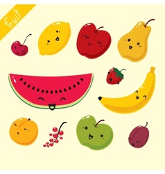 Fruits set of fruits vector image