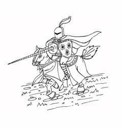 Medieval spear knight on horse ink vector