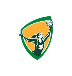 Netball player catching ball shield retro vector