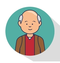 Old man character avatar icon vector