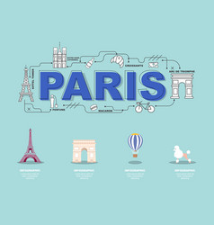 Paris landmark icons for traveling in france vector