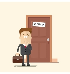 Pensive businessman or manager standing in front vector image