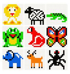 Pixel art animals set vector
