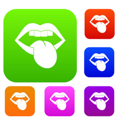 rock emblem set color collection vector image vector image
