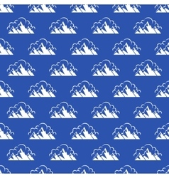 Seamless pattern with mountain and clouds vector