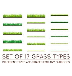 Set of backgrounds of green grass isolated on vector