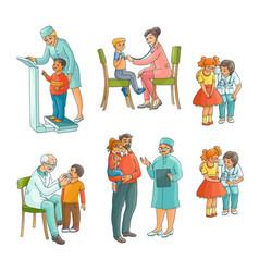 Set of pediatrician doctor doing medical exam vector