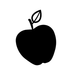 Silhouette monochrome with apple fruit vector