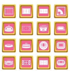 sport stadium icons pink vector image vector image