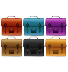 Suitcases in six different colors vector