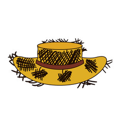 white background of old straw hat with thick vector image vector image