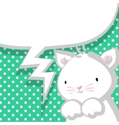 White cute little kitty marine backdrop vector