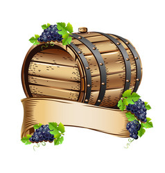 Wine barrel with bunches of grapes vector