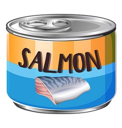 Salmon in aluminum can vector