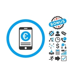 Euro mobile banking flat icon with bonus vector