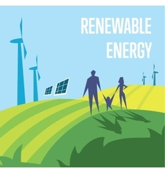 Renewable energy sun and wind power generation vector