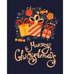 Christmas greeting card with gifts vector