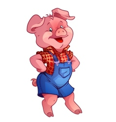 Funny happy pig vector