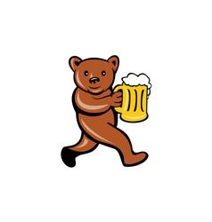 Bear Beer Mug Running Side Cartoon vector image