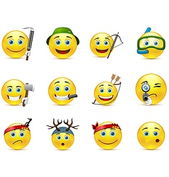Hunting and adventure smiley icon set vector