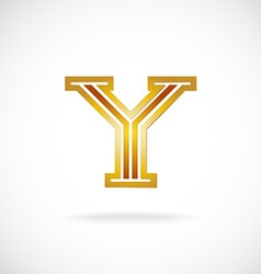 Y letter logo template Golden colors vector image